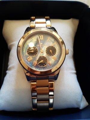 Tom Tailor Horloge met metalen riempje roségoud-staalblauw