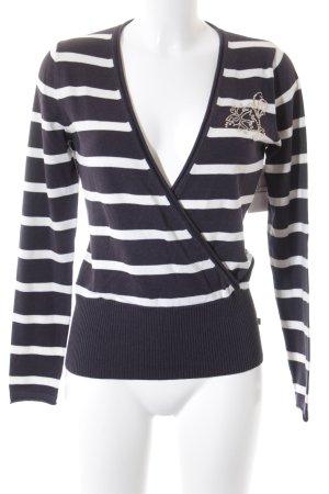 Tom Tailor V-Ausschnitt-Pullover anthrazit-weiß Streifenmuster Casual-Look
