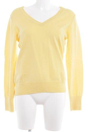 Tom Tailor V-Ausschnitt-Pullover hellgelb Casual-Look