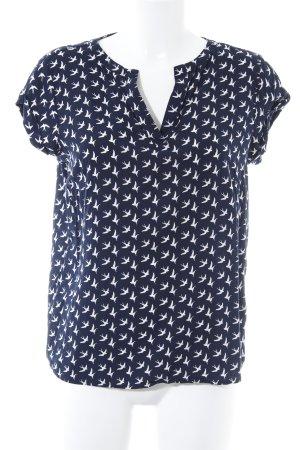 Tom Tailor V-Ausschnitt-Shirt dunkelblau-weiß abstrakter Druck Casual-Look