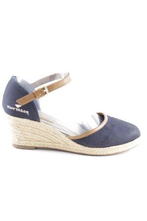 Tom Tailor Wedges Sandaletten dunkelblau-braun Casual-Look