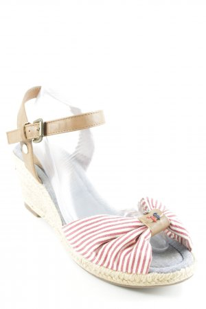 Tom Tailor Wedges Sandaletten weiß-rot Streifenmuster Beach-Look