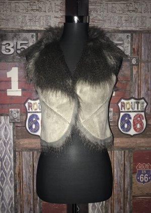 Tom Tailor Fake Fur Vest grey brown