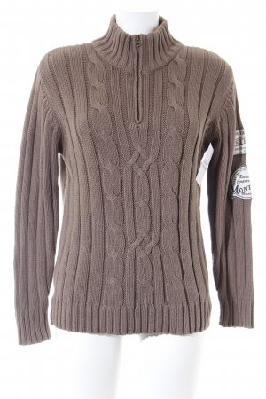 Tom Tailor Cable Sweater brown cable stitch casual look