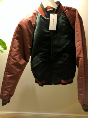 Blouson aviateur vert foncé-rose polyester