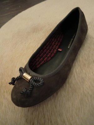 TOMMY HILFIGER Ballerinas - Größe 37 - dunkelgrau grau anthrazit - Leder