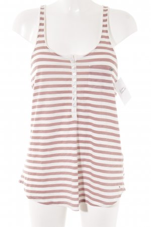 Tommy Hilfiger Top basic malva-bianco sporco motivo a righe stile atletico