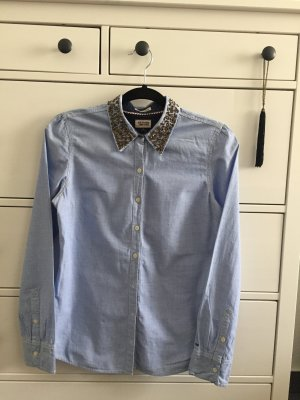 Tommy Hilfiger blue shirt with embroidered collar