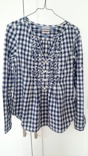 TOMMY HILFIGER Bluse blau weiß karriert, Gr. 34/XS