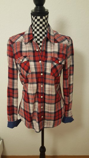 Tommy Hilfiger Geruite blouse donkerrood-donkerblauw