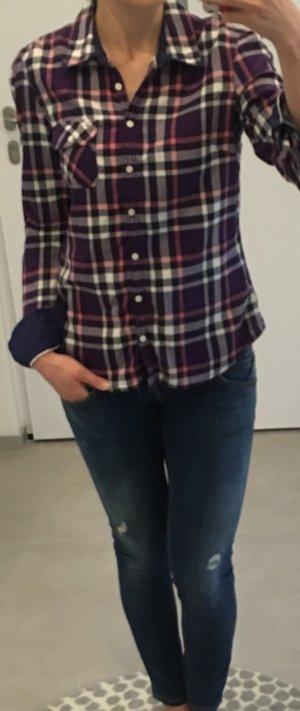 Tommy hilfiger Bluse kartiert s xs 34 36 lila weiß Bluse Oberteil m
