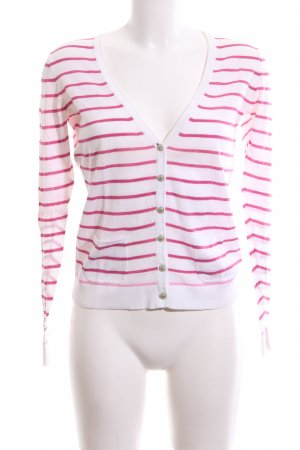 Tommy Hilfiger Cardigan wit-roze gestreept patroon casual uitstraling