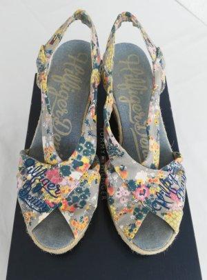 Tommy Hilfiger Denim Wedge Sandals multicolored linen