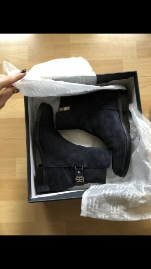 Tommy Hilfiger Booties dark blue-gold-colored