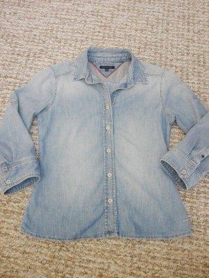 Tommy Hilfiger Damen Stretch Jeans Bluse Gr. S blau 3/4 Arm