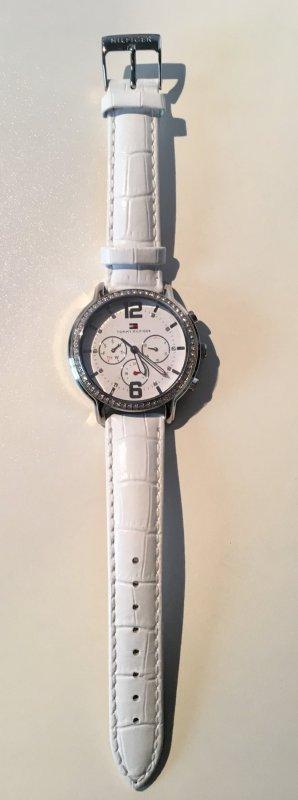 Tommy Hilfiger Montre avec bracelet en cuir blanc-gris clair cuir