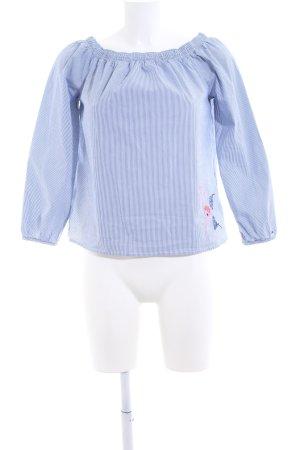 Tommy Hilfiger Denim Blusa tipo Carmen azul-blanco estampado a rayas look casual
