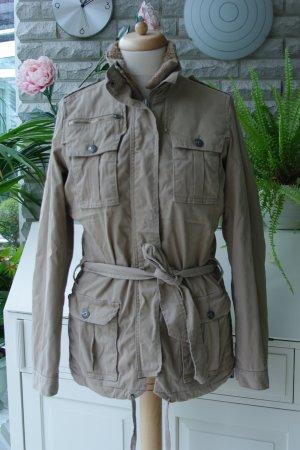 Tommy Hilfiger Denim Jacket, Khaki, Steppfutter weiß/rot/blau kariert, Gr. XL