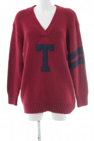 Tommy Hilfiger Denim Jersey largo rojo oscuro-azul oscuro letras bordadas