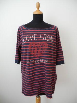 tommy Hilfiger denim oversize xl jersy shirt lässig schmiegsam feine Baumwolle ringel rot blau Schrift Herz Halbarm Long