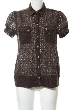 Tommy Hilfiger Denim Kanten blouse zwart bruin extravagante stijl