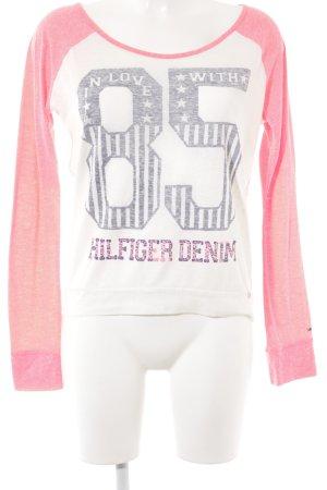 Tommy Hilfiger Denim Sweatshirt creme-neonrot sportlicher Stil