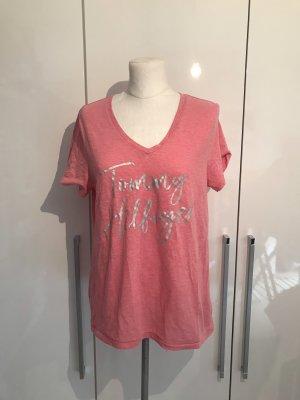 Tommy Hilfiger Denim V-hals shirt roze-roze
