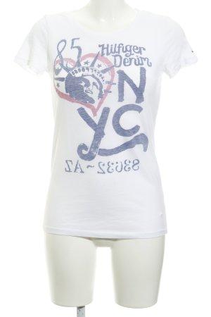 Tommy Hilfiger Denim T-shirt wolwit geplaatste afdruk casual uitstraling