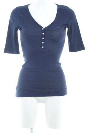 Tommy Hilfiger Denim V-Ausschnitt-Shirt dunkelblau schlichter Stil