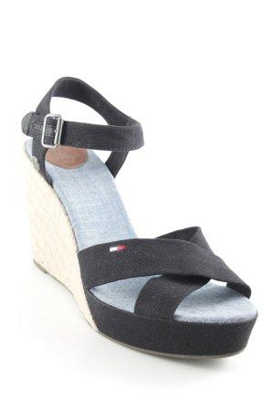 Tommy Hilfiger Denim Wedge Sandals black-beige beach look