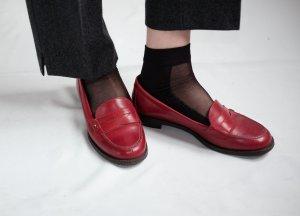 tommy hilfiger echtleder loafers slippers slip ons flats halbschuhe bourdeaux rot 38
