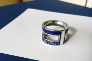 Tommy Hilfiger Ring silver-colored-blue stainless steel