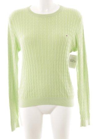 Tommy Hilfiger Golf Rundhalspullover blassgrün Zopfmuster Casual-Look