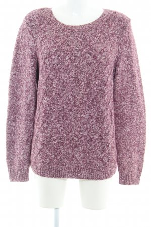 Tommy Hilfiger Grobstrickpullover purpur-weiß Zopfmuster Casual-Look