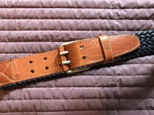 Tommy Hilfiger Braided Belt dark blue-cognac-coloured leather