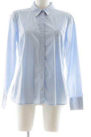Tommy Hilfiger Hemd-Bluse blau Schriftzug gestickt Business-Look
