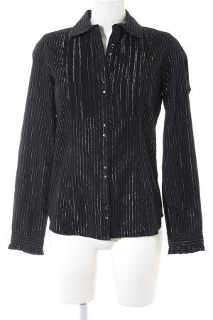 Tommy Hilfiger Hemd-Bluse schwarz-silberfarben Nadelstreifen Casual-Look