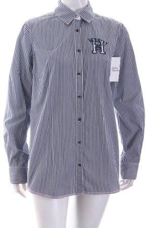 Tommy Hilfiger Hemd-Bluse weiß-dunkelblau Streifenmuster klassischer Stil