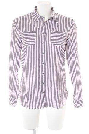 Tommy Hilfiger Hemd-Bluse weiß-graulila Streifenmuster Casual-Look