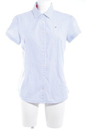Tommy Hilfiger Hemd-Bluse weiß-hellblau Streifenmuster Casual-Look