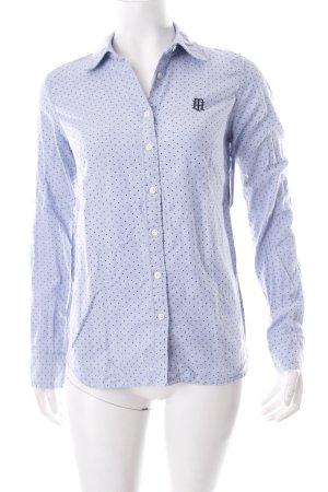 Tommy Hilfiger Hemd-Bluse weiß-kornblumenblau Punktemuster Casual-Look