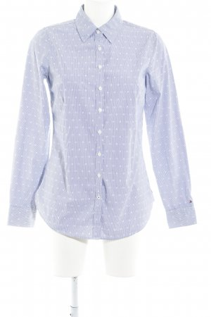 Tommy Hilfiger Hemd-Bluse wollweiß-dunkelblau Allover-Druck Business-Look