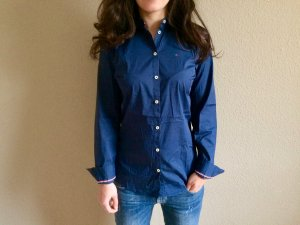 Tommy Hilfiger Stand-Up Collar Blouse dark blue cotton