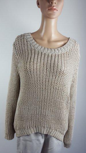 Tommy Hilfiger Italien Yarn Lochstrick Oversized Pullover beige Größe M