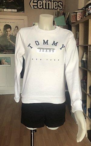 Tommy Hilfiger Jeans Pullover S/M Weiß Silber