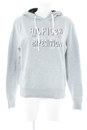 Tommy Hilfiger Pull à capuche gris clair-rose imprimé avec thème