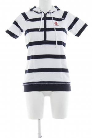 Tommy Hilfiger Hooded Shirt white-dark blue horizontal stripes sailor style