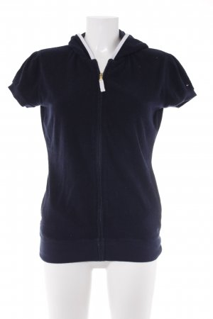 Tommy Hilfiger Chaleco con capucha azul oscuro-blanco look casual