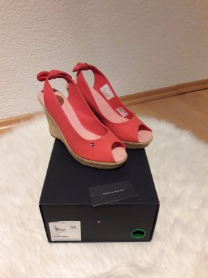 Tommy Hilfiger Keilabsatz Sandalen  Farbe Rot Neu