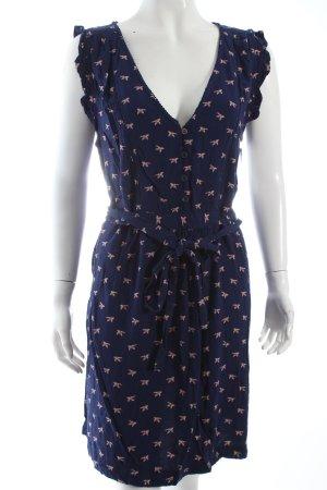 Tommy Hilfiger Kleid dunkelblau-hellbeige Allover-Druck Schleifen-Detail